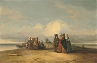 an elegant company at the seaside by jacques van gingelen