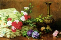 basket of flowers and bouquet of violets by gustave bienvetu