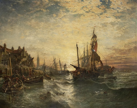 west wemyss harbour fife by samuel bough
