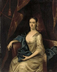 protrait of rebecca branthway in a white satin dress and blue wrap in a draped interior by john theodore heins sr.