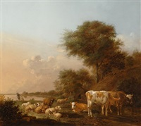 resting cattle by the water by albert jansz klomp
