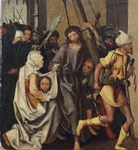 christ and saint veronica on the way to calvary by martin schongauer