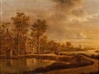 paysage de rivière avec deux paysans près - d'une chaumière by joachim govertsz camphuysen