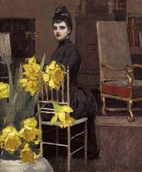 in the music room with daffodils by william sullivant vanderbilt allen