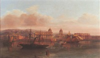 view of the royal naval hospital, greenwich with the royal observatory beyond by henry smith