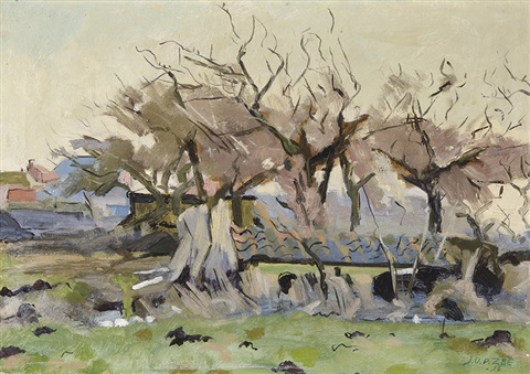 trees in front of a farm by jan van der zee