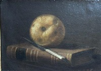 still life with book, knife and pear by g. pierre beauregard