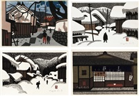 work/ winter in aizu/ winter in aizu/ tea house (set of 4) by kiyoshi saito