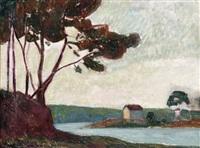 paysage breton (+ sketch, verso) by jacob glaudianna de haan