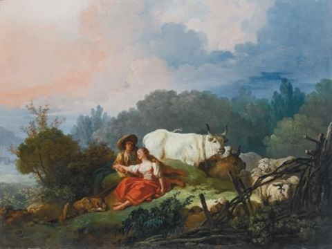 pastoral landscape with a shepherd and shepherdess at rest by jean honoré fragonard