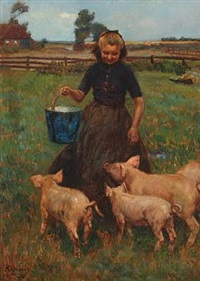 a young girl feeding the pigs by louis albert roessingh