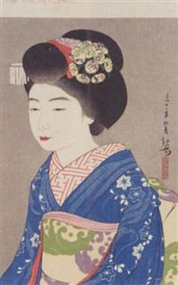 a portrait of a maiko by yoshiwara kanpo
