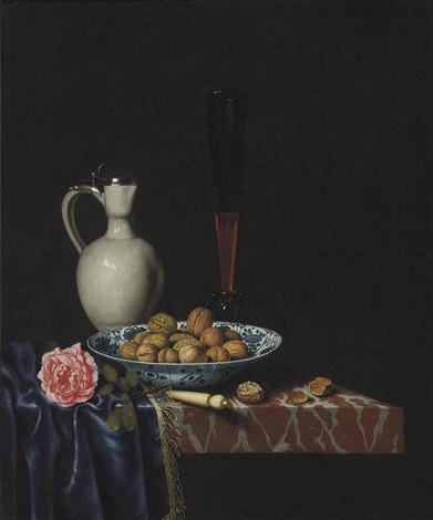 a wan-li bowl with walnuts, a façon de venise wine glass, an ivory-handled knife, a delft stoneware jug and a rose on a partially draped marble ledge by hubert van ravesteyn