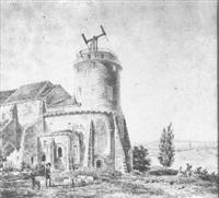 sémaphore sur la tour d'une église, dans un paysage animé de personnages by antoine-louis goblain