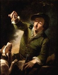 portrait de chasseur avec son chien by bernhard (christian bernhard) rode