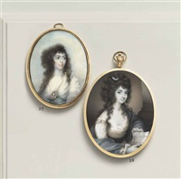 a young lady called susanna home, in white dress, wearing a portrait miniature of a gentleman suspended from a pearl necklace... by horace hone