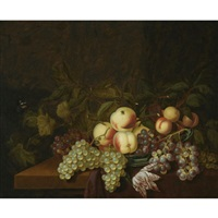 still life of peaches and grapes in a wan-li porcelain bowl, together with a butterfly, all arranged on a table partly draped with a red cloth by bartholomeus assteyn