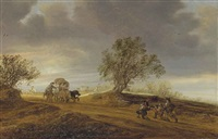 a dune landscape with soldiers attacking travellers in a covered wagon by salomon van ruysdael