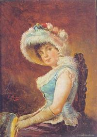 retrato de dama sentada con pay-pay by jose maria alarcon