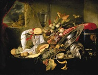 a silver tazza, a basket and silver platters with fruit, an overturned silver flagon and other objects on a draped table before a window by jan jansz heem the younger