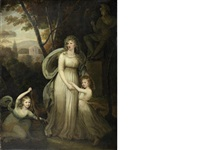 portrait of a lady, with two children, possibly members of the lichtenau family, full-length, in a classical landscape by robert fagan