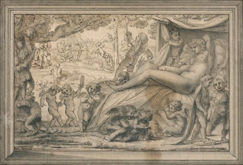 vénus endormie entourée de putti by michel corneille the younger