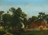 farm scenery at the edge of a forest by heinrich buntzen