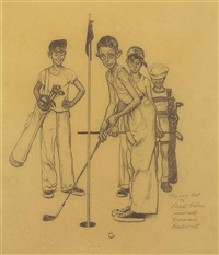 missed (four sporting boys: golf)--study by norman rockwell