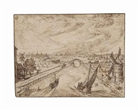a bird's eye view of a canal with an arched bridge by jacques de gheyn ii
