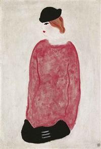 femme en rouge (woman in red) by sanyu