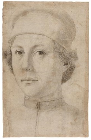 portrait of a young man head and shoulders wearing a cap by piero pollaiuolo