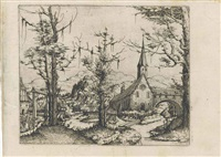 landscape with a church by augustin hirschvogel