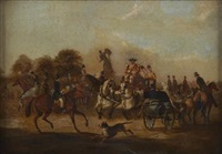 hyde park corner - coaches and carriages by samuel henry alken