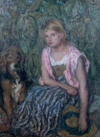 jeune fille au chapeau de paille et son chien by edmond françois aman jean