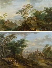pendants - landschaften (pair) by maximilian joseph schinnagl and franz christoph janneck