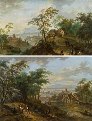pendants landschaften pair by maximilian joseph schinnagl and franz christoph janneck