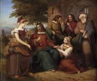 jesus mit zwei jungen frauen, wohl martha und maria, und drei aposteln in landschaft by julius schnorr von carolsfeld