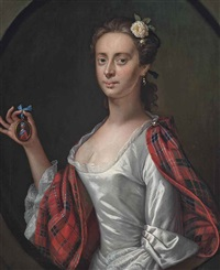 portrait of a lady, believed to be jenny (jean) cameron, half-length, in a white dress and tartan wrap, holding a miniature of bonnie prince charlie... by jeremiah davison