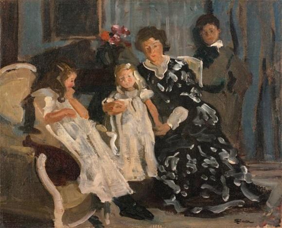 la famille de lucien simon jeanne paul lucienne et charlotte by lucien simon