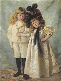 portrait of the artist's children: konstantin and olga by konstantin egorovich makovsky