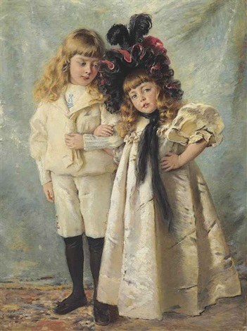 portrait of the artists children konstantin and olga by konstantin egorovich makovsky