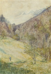 swiss mountain scene by john william inchbold