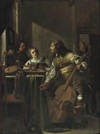 an elegant company making music in an interior by jacob duck