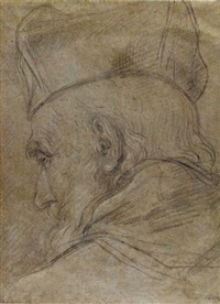 head of a prelate, seen from behind, wearing a biretta by pietro locatelli