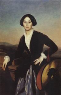 l'élégante au chapeau by auguste barthelemy glaize