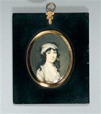portrait de jeune femme en robe de soie blanche et foulard retenant sa chevelure by louis alexandre