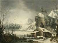 a winter river landscape with figures before a mill by francesco foschi