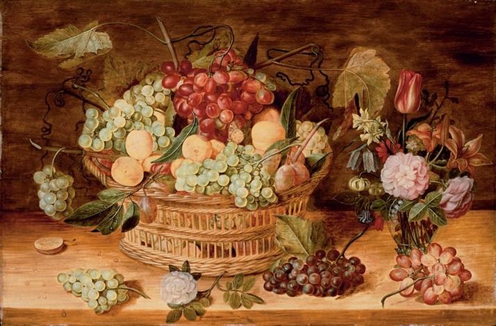 grappes de raisins abricots prunes dans une corbeille fruits et vase de fleurs sur un entablement en bois by isaac soreau