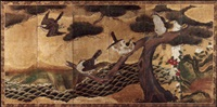 hawks on pine tree by japanese school-soga (17)