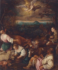 the annunciation to the shepherds by giambattista da ponte bassano